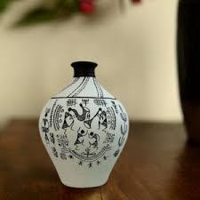 Clay Vase Painting Vase Matki Hand Painted Terracotta Vase Warli Matki Black