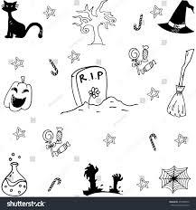 set halloween doodle vector art hand stock vector 437058070