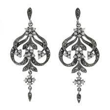 White Chandelier Earrings Sterling Silver Seed Pearl U0026 Marcasite Three Flower Chandelier