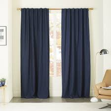 Royal Blue Blackout Curtains Belgian Flax Linen Curtain Midnight West Elm