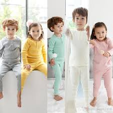 2016 new autumn pajamas sets baby solid color cotton tops high
