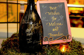 wine bottle wedding guest book alesia zorn calligraphy engraving eco friendly
