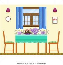 living room interior window curtain comfortable stock vector