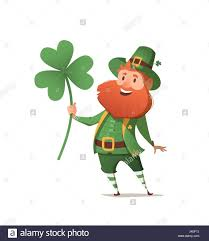 leprechaun with clover for good luck dwarf vector for a party in