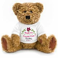flower girl teddy gift gift wrapped personalised will you be our flower girl teddy