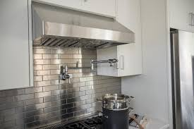 metal backsplash tiles for kitchens subway tile backsplash ideas features pot filler faucet stainless