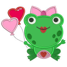 heart shaped balloons frog with heart shaped balloons applique machine