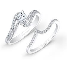 bridal set rings white gold split swirl shank prong diamond bridal set