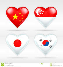 Singapur Flag China Singapore Japan And South Korea Heart Flag Set Of Asian