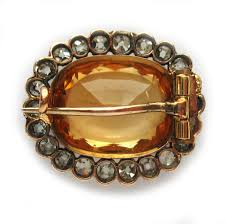 golden bentley a victorian oval golden topaz and diamond cluster brooch bentley