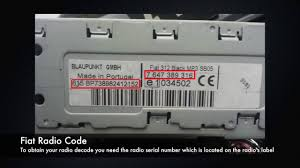 fiat radio codes from serial number find u0026 decode online today