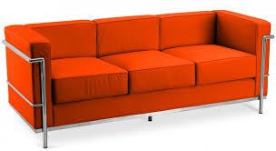 corbusier canapé canapé cuir orange 3 places inspiré lc2 le corbusier lestendances fr