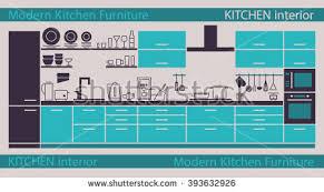 modern kitchen interior vector kitchen cabinets stock vector