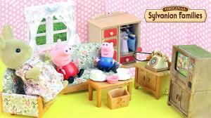 Sylvanian Families Living Room Set With Peppa Pig And George Fun - Sylvanian families living room set