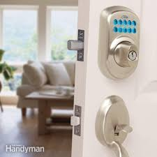 How To Install A Lock On A Cabinet Door Upgrade Front Door Locks With Keyless Door Locks Family Handyman
