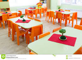 Kids Chairs And Table Kindergarten Classroom With Small Chairs And Tables Stock Photo