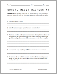 social media madness worksheet 5 student handouts