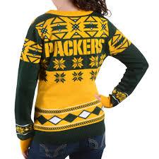 Ugly Green Green Bay Packers Big Logo Women U0027s V Neck Nfl Ugly Sweater