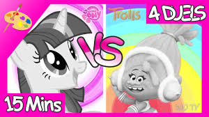 mlp twilight sparkle vs trolls from dreamworks movie 4 coloring