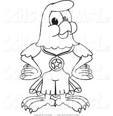 clip art of a coloring page bald eagle hawk or falcon wearing a