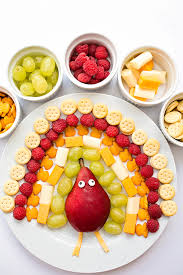 thanksgiving fruit cheese cracker turkey snack platter for