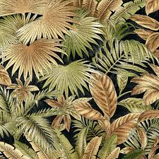 Upholstery Fabric Prints Gold Tan Green Hawaii Beach Foliage Bacteria And Stain Resistant