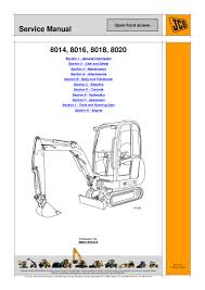 jcb 8018 mini excavator service repair manual sn 1046000 onwards