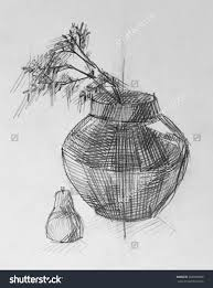 pencil sketch of different flower vase drawing of sketch