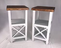Nightstand With Shelves Handmade Side Table Etsy