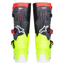 alpinestars tech 7 motocross boots alpinestars tech 7 boots yellow fluo red fluo grey black sixstar
