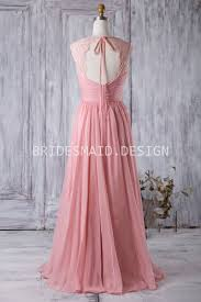 rose pink chiffon queen anne neck vintage a line long bridesmaid