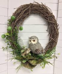 grapevine wreath owl and baby silk and dried grapevine wreath centerville florists