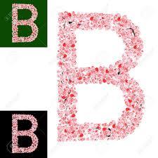 Monogram Letter B Watercolor Hand Drawn Sakura Flower Alphabet Monogram Letter
