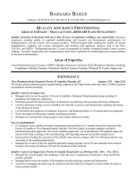 Microbiologist Resume Sample Quality Assurance Manager Resume Sample Gallery Creawizard Com