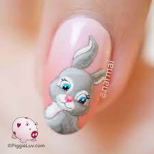 piggieluv some bunny loves you nail art for valentine u0027s day