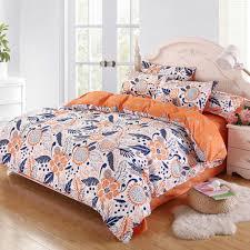 Bright Duvet Cover Orange White Blue Floral Bright Bedding Set Duvet Cover Pillow