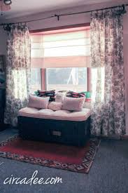 vintage military ammo trunk turned window seat toile drapes by