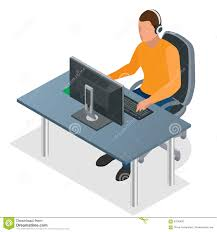 Computer Game Desk by Gamer Playing On Pc Concentrated Young Gamer In Headphones And