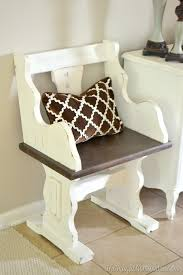 Church Pew Style Bench Pew Bench Makeover With Chalky Finish Paint