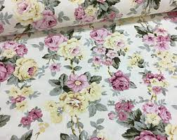 Shabby Chic Upholstery Fabric by Floral Canvas Duck Fabric Shabby Chic Roses Home Decor Curtain