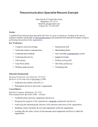 Contract Specialist Resume Sample by Telecommunications Resume Legal Secretary Resume Example Plasterer