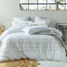 white boho tassels linen blend quilt cover set temple u0026 webster