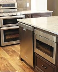kitchen island with microwave drawer stainless steel gas range from kitchenaid and a sharp