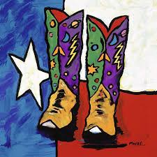 Painting A Flag Boots On A Texas Flag Painting By Dale Moses