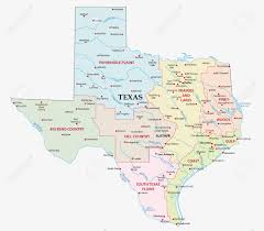 Texas Map Images Map Of The Seven Regions In The State Texas Royalty Free Cliparts