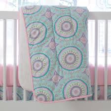 Pink And Teal Crib Bedding by Aqua Haute Baby 3 Piece Crib Bedding Set Carousel Designs