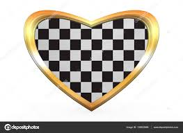 Images Of Racing Flags Checkered Racing Flag In Heart Shape Golden Frame U2014 Stock Photo