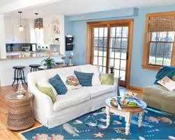 blue coastal living room with sea life rug u0026 drawer chest shop