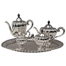 silver matching services silver deco coffee tea set made by wilkens germany circa