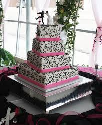 pink u0026 black wedding cake